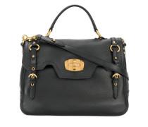 buckle detail foldover satchel bag