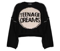 Intarsien-Pullover mit Slogan