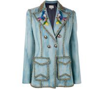 Embroidered studded denim blazer - women