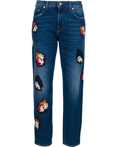 Cropped-Jeans mit Patches