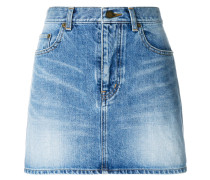 denim shadow pocket fitted skirt