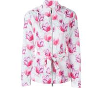 floral print hooded raincoat