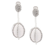 single line dropped ball clip-on earrings