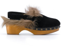 Sandalen mit Kaninchenpelzbesatz