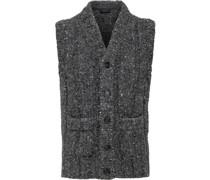 Tweed-Strickweste mit V-Ausschnitt