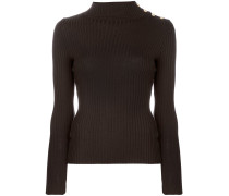 button-embellished ribbed jumper