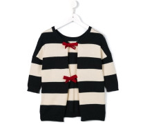 striped ribbon fastening cardigan