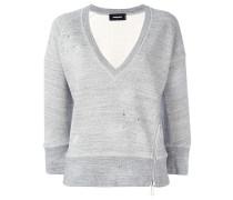 Cropped-Sweatshirt mit melierten Akzenten