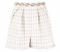 pearl-embellished tweed shorts