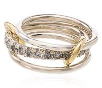 18kt 'Y' Gelbgoldring mit Diamanten
