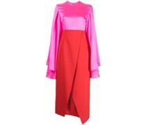colour-block satin-finish asymmetric dress