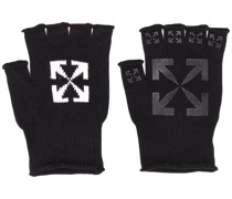 logo print fingerless gloves