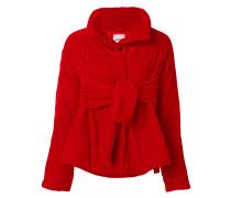 velvet belted puffer jacket
