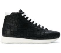 crocodile effect hi-top sneakers