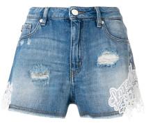 lace trim distressed shorts