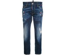 embroidered Boyfriend jeans