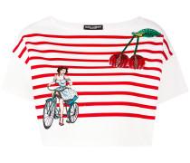 Besticktes Cropped-T-Shirt