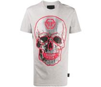 T-Shirt mit kristallverziertem Totenkopf