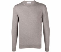 crew-neck speckled knit jumper