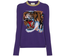 Wool jumper with knitted tiger motif