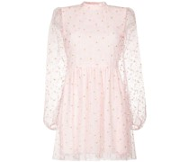 floral-embroidered long-sleeve minidress