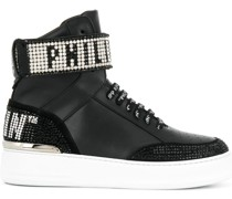 High-Top-Sneakers mit Kristallen