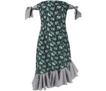 Schulterfreies Kleid mit Rüschensaum