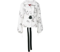 floral patch hooded jacket