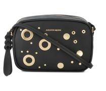 black leather eyelet camera bag