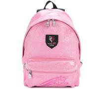 logo print glitter backpack