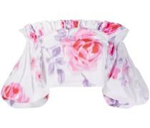 Schulterfreie Bluse mit Blumen