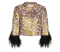 Cropped-Jacke mit Leoparden-Print