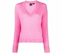 Pullover mit geripptem V-Ausschnitt
