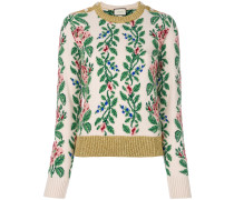 intarsia jacquard flowers top