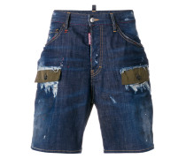 Jeans-Shorts mit Patchwork-Design