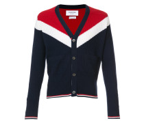 V-Neck Cardigan With Saddle Sleeves And Chevron In Ribbed Cashmere