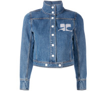 - embroidered logo denim jacket - women