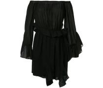 off-the-shoulder shirred wrap dress
