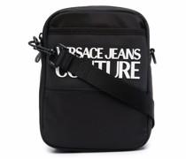 debossed-logo zipped messenger bag