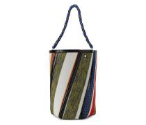 Hex leather trimmed stripe bag