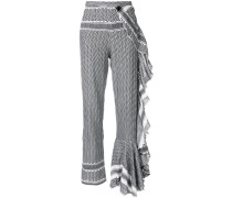 ruffle trim patterned trousers