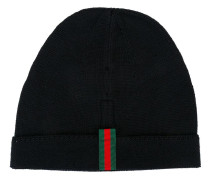 striped detailing beanie