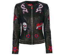 studded patch leather jacket