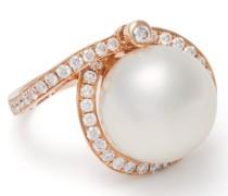 18kt Rotgoldring mit Perlen