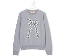 lettering bow print sweatshirt - kids