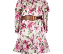 belted floral-print dress