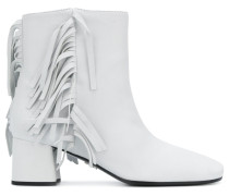 White Fringed 55 leather boots