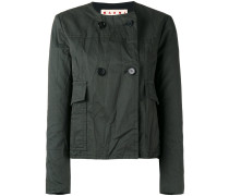 cropped collarless jacket - women