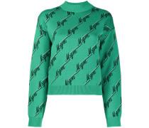 Intarsien-Pullover mit Logos