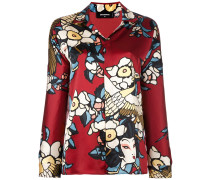 'Cherry Blossom' Pyjamahemd aus Seide